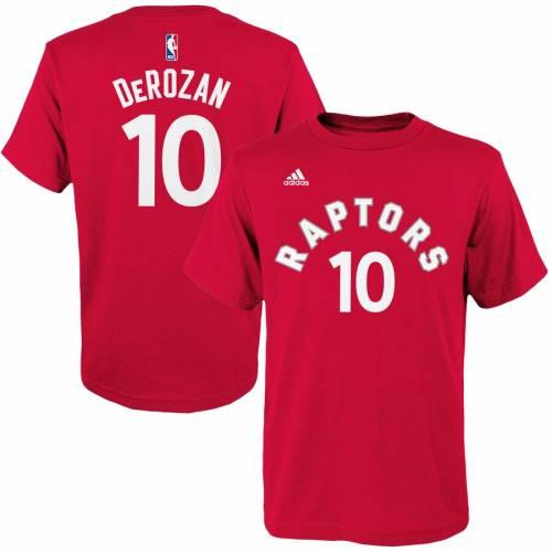 トップス, Tシャツ・カットソー  ADIDAS T GAME DEMAR DEROZAN TORONTO RAPTORS YOUTH TIME FLAT NAME NUMBER TSHIRT BLACK RED