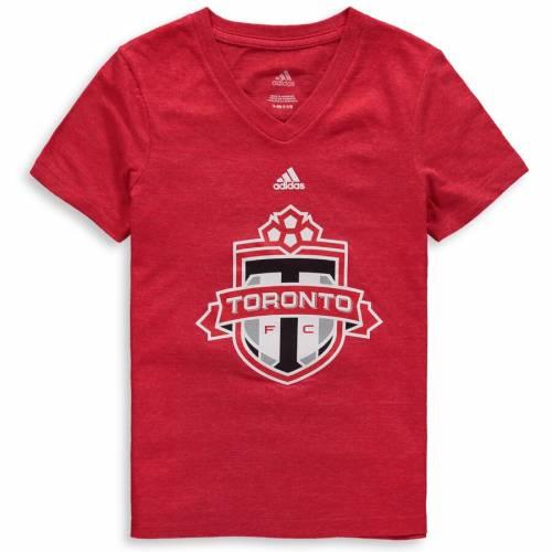 トップス, Tシャツ・カットソー  ADIDAS T TORONTO FC GIRLS YOUTH PRIMARY LOGO VNECK TRIBLEND TSHIRT RED