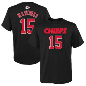 OUTERSTUFF カンザス シティ チーフス 子供用 Tシャツ 黒 ブラック & 【 BLACK OUTERSTUFF PATRICK MAHOMES KANSAS CITY CHIEFS YOUTH FASHION NAME NUMBER TSHIRT 】 キッズ ベビー マタニティ トップス Tシャツ