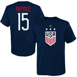 OUTERSTUFF 子供用 レディース Tシャツ WOMEN'S & 【 MEGAN RAPINOE USWNT YOUTH 2019 FIFA WORLD CUP CHAMPIONS NAME NUMBER TSHIRT NAVY 】 キッズ ベビー マタニティ トップス