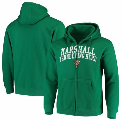 トップス, パーカー FANATICS BRANDED GREEN FANATICS BRANDED MARSHALL THUNDERING HERD ARCHED SCHOOL NAME MASCOT FULLZIP HOODIE KELLY