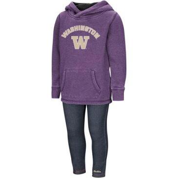 COLOSSEUM ワシントン ベビー 赤ちゃん用 赤ちゃん 幼児 キッズ マタニティ ジュニア 【 Washington Huskies Girls Toddler Shot At The Pros Hoodie And Jegging Set - Purple/denim 】 Purple/denim