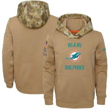 ナイキ NIKE マイアミ ドルフィンズ 子供用 サーマ カーキ キッズ ベビー マタニティ トップス ジュニア 【 Miami Dolphins Youth 2019 Salute To Service Therma Pullover Hoodie - Khaki 】 Khaki