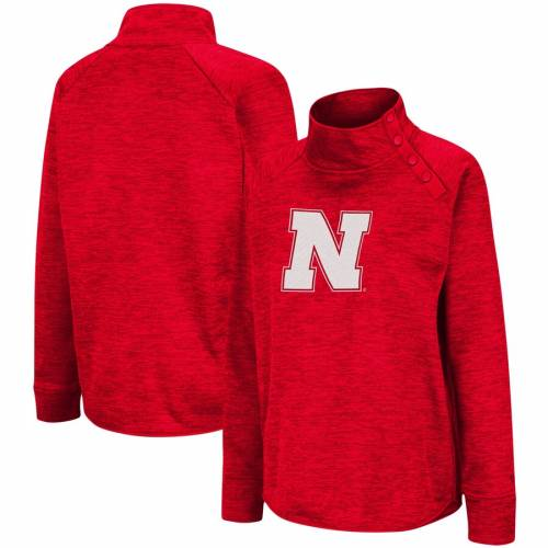 レディースファッション, コート・ジャケット COLOSSEUM WOMENS COLOSSEUM NEBRASKA CORNHUSKERS MARLED SIDE SNAP PULLOVER JACKET HEATHERED SCARLET