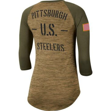 ナイキ NIKE ピッツバーグ スティーラーズ レディース レジェンド ラグラン スリーブ Tシャツ カーキ レディースファッション トップス カットソー 【 Pittsburgh Steelers Womens 2019 Salute To Serv