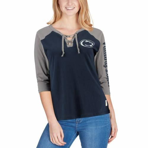 トップス, Tシャツ・カットソー PRESSBOX T WOMENS STATE RAGLAN NAVY PRESSBOX PENN NITTANY LIONS SKYLAR LACEUP TSHIRT T