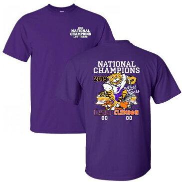 BAYOU APPAREL タイガース カレッジ Tシャツ 紫 パープル メンズファッション トップス カットソー メンズ 【 Lsu Tigers College Football Playoff 2019 National Champions Score T-shirt - Purple 】 Purple