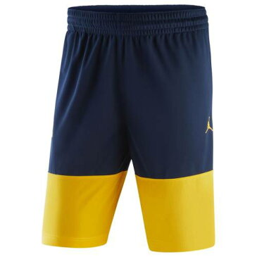 JORDAN BRAND ミシガン パフォーマンス ショーツ ハーフパンツ メンズファッション ズボン パンツ メンズ 【 Michigan Wolverines Block Out Performance Shorts - Navy/maize 】 Navy/maize