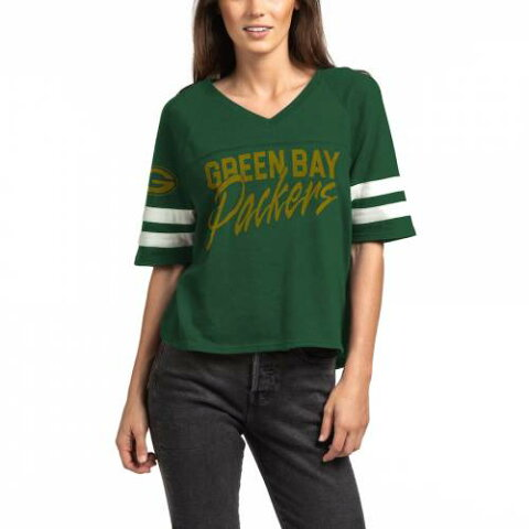 JUNK FOOD 緑 グリーン パッカーズ レディース Vネック Tシャツ WOMEN'S 【 GREEN JUNK FOOD BAY PACKERS FOOTBALL HALFSLEEVE VNECK TSHIRT 】 レディースファッション トップス Tシャツ カットソー