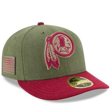 ニューエラ NEW ERA ワシントン レッドスキンズ サイドライン バッグ キャップ 帽子 メンズキャップ メンズ 【 Washington Redskins 2018 Salute To Service Sideline Low Profile 59fifty Fitted Hat - Olive/burgundy