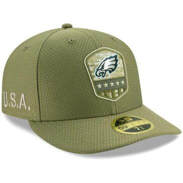 ニューエラ NEW ERA フィラデルフィア イーグルス サイドライン オリーブ バッグ キャップ 帽子 メンズキャップ メンズ 【 Philadelphia Eagles 2019 Salute To Service Sideline Low Profile 59fifty Fitted Hat -