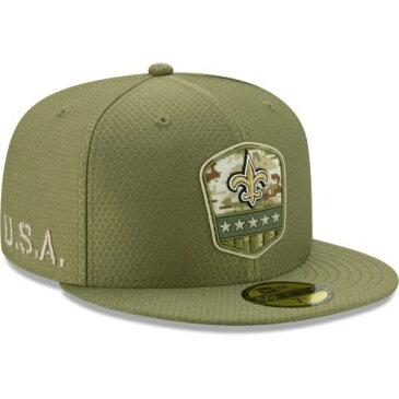 ニューエラ NEW ERA セインツ サイドライン オリーブ バッグ キャップ 帽子 メンズキャップ メンズ 【 New Orleans Saints 2019 Salute To Service Sideline 59fifty Fitted Hat - Olive 】 Olive