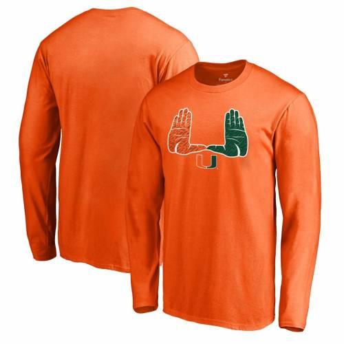 トップス, Tシャツ・カットソー FANATICS BRANDED T SLEEVE MIAMI HURRICANES HOMETOWN COLLECTION LONG TSHIRT ORANGE