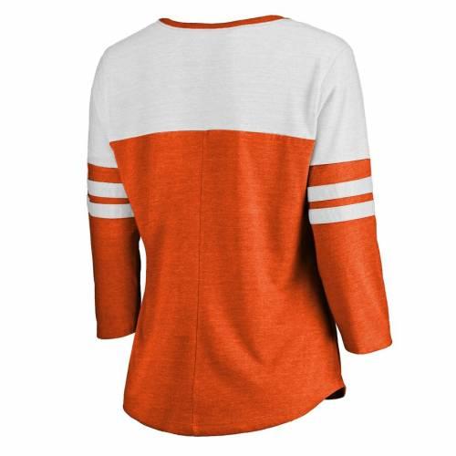 トップス, Tシャツ・カットソー FANATICS BRANDED T WOMENS RAGLAN ORANGE FANATICS BRANDED PHOENIX SUNS GRACEFUL 3 4SLEEVE TSHIRT HEATHERED T