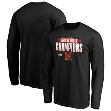 FANATICS BRANDED メリーランド メンズ バスケットボール スリーブ Tシャツ 黒 ブラック メンズファッション トップス カットソー 【 Maryland Terrapins 2020 Big Ten Mens Basketball Regular Season Champions Lo