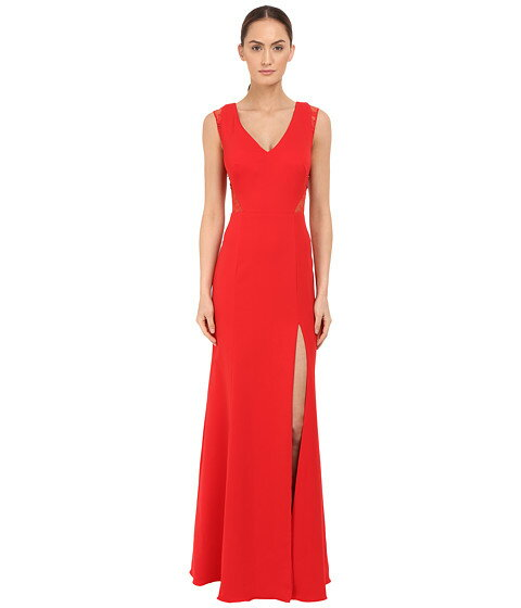 Marchesa Notte Sleeveless Crepe Gown with Slit and Illusion Re-Embroidered Lace Cut Outs:スニーカーケース