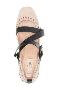 rockstudstrappyflatストラップフラットバレエシューズレディース靴靴