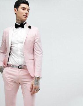 ヌース モンキー スーパー スキニー ウェディング タキシード スーツ ジャケット ピンク & メンズ 男性用 メンズファッション ファッション 【 PINK NOOSE MONKEY SUPER SKINNY WEDDING TUXEDO SUIT JACKET 】