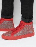 エイソスasos赤チャンキーソールイントレーナーハイレッドトップhightoptrainersinredwithchunkysoleメンズ靴靴