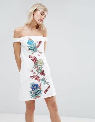 ドレス ワンピース ハウス ホーランド コットン ドリル house of holland embroidered cotton drill dress レディースファッション:スニーカーケース