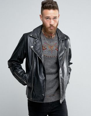 ASOS エイソス Leather Biker Jacket ジャケット with Stud Detail in Black