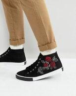 ローズエイソスミッドブラック黒asosmidtopplimsollsinblackwithroseembroidery靴メンズ靴