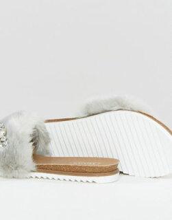 dunelyragreygray灰色グレイfauxhurembellishedslidesスライド靴レディース靴