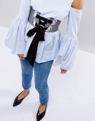 ラージ シフォン エイソス ベルト ネクタイ ピンストライプ コルセット asos pinstripe large eyelet corset belt with chiffon tie 美容 香水 コスメ