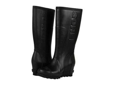 ソレル レインシューズ レイン ウェッジ トール ブラック シー ソルト レディース 女性用 長靴 靴 【 SOREL JOAN RAIN WEDGE TALL BLACK SEA SALT 】
