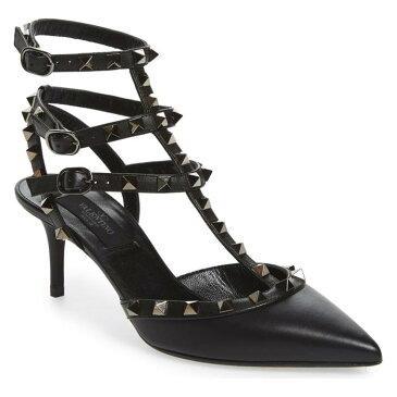 ポンプ 黒 ブラック レザー 'ROCKSTUD' シューズ 靴 パンプス レディース靴 【 PUMP BLACK VALENTINO GARAVANI TSTRAP LEATHER 】