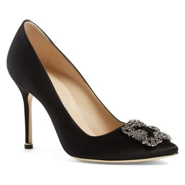 ジュエル ポンプ 黒 ブラック サテン 'HANGISI' シューズ レディース靴 靴 パンプス 【 PUMP BLACK MANOLO BLAHNIK JEWEL SATIN 】