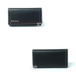 ポールスミス財布メンズPaulSmithダブルステッチキーケースブラック代引き料有料消費税込