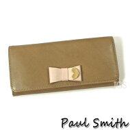 ポールスミス財布メンズレディースPaulSmithコントラストリボンかぶせ長財布ブラウンPWW784送料無料代引き料有料消費税込