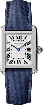 カルティエ CARTIER 時計 タンクソロ SM 腕時計 ネイビーブルー カーフ