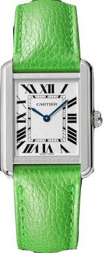 カルティエ CARTIER 時計 タンクソロ SM 腕時計 グリーン グレインド カーフスキン