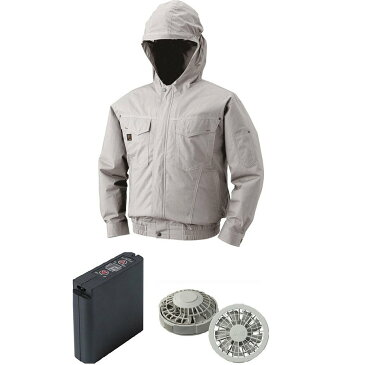 フード付綿薄手空調服(ウェア、ワンタッチファングレー2個、ケーブル、バッテリーセット(LIULTRA1))