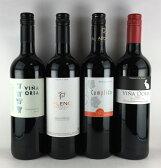 送料無料 情熱の国スペイン 極旨赤ワイン  4本セット