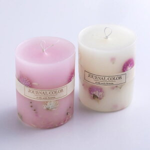ピンクのアロマキャンドル/ボタニカルキャンドル