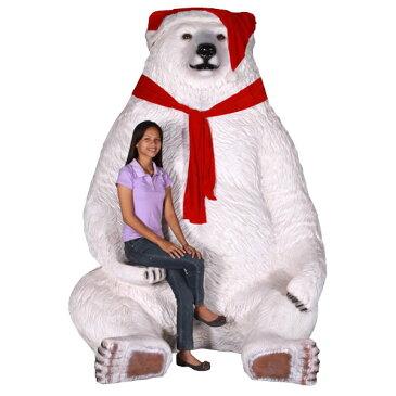 巨大な白クマのサンタ / Sitting Christmas Bear - Jumbo