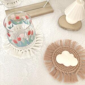 マクラメコースター トレイ プレート コースター マクラメ 北欧 花柄 かわいい おしゃれ カフェ 韓国 雑貨 プレゼント