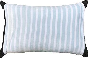のびのび 筒型 枕カバー マイクロファイバー ボーダー BL ブルー 送料無料 おしゃれ かわいい 超 やわらか しっとり あったか 35×50 43×63 低反発枕