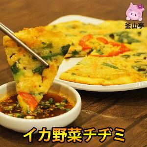 チヂミ(約200g/1枚)釜山亭特製イカ野菜チヂミ焼いてあるので温めるだけ タレ付き韓国料理 韓国食品【クール冷凍便】