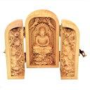 仏像 阿弥陀三尊 座像 阿弥陀如来 観音菩薩 勢至菩薩 三尊 三尊仏 三開仏 木彫 ツゲ 置物 オブジェ コンパクト 高さ10cm 巾着ポーチ付き 3