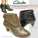 【あす楽】クラークス Clarks レディースショートブーツ ルシアデニー 317F カジュアル レザー 折り返し