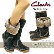 【あす楽】クラークス Clarks レディースブーツ ネットルアイス 537F ファー付き 2way 本革 ムートン 防寒