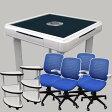 【セット】全自動麻雀卓スリム(スチール脚テーブル)+椅子4脚+サイドテーブル2本