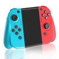 Nintendo Switch コントローラー joy-conの代用品 グリップ付き/HD振動・ジャイロ搭載 (R)レッド/(L)ブルー 日本語説明書付き