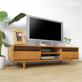 開梱設置配送幅150cmタモ材とウォールナット材のツートンカラー木製テレビ台タモ無垢材とウォールナット無垢材を使用した角に丸みのあるテレビボードPOCKET+150NA