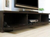 【受注生産商品】国産!幅1800mmダークブラウン色のタモ材格子扉ロータイプテレビボードCommon180DDB色・台輪
