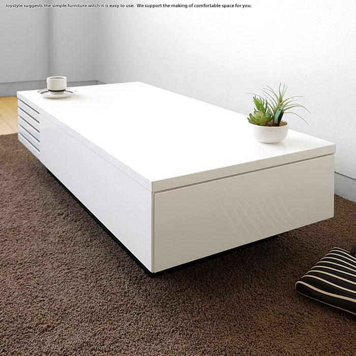 リビングテーブル ローテーブル 幅110cm 2杯の引き出し付き モダンリビングにマッチする直線的でかっこいいデザイン 光沢のある白色 ダークブラウン ナチュラル ホワイト 3色展開